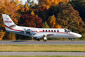 Cessna Citation II - A Citation II seen shortly after landing