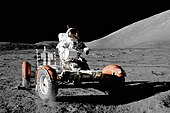 Lunar Roving Vehicle, driven by Eugene Cernan