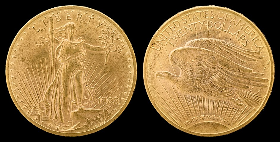 "Saint-Gaudens double eagle, revised design of 1908 adding ""  IN GOD WE TRUST  "" motto to reverse"