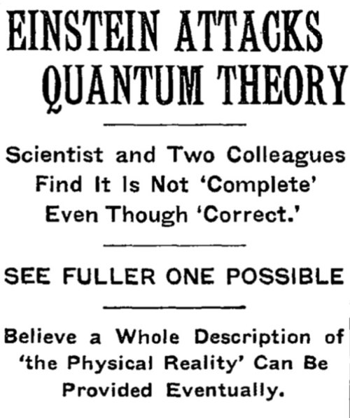 Article headline regarding the Einstein–Podolsky–Rosen paradox (EPR paradox) paper, in the May 4, 1935 issue of The New York Times.