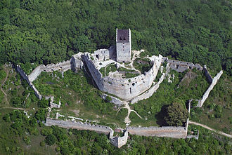 Bergfried - Topoľčany Castle, Slovakia. Three lines of defence are perfectly depicted here: Renaissance bastions, central Gothic fortification and a bergfried as the last refuge.