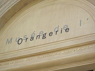 Musée de l'Orangerie - The name of the museum inscribed above the door