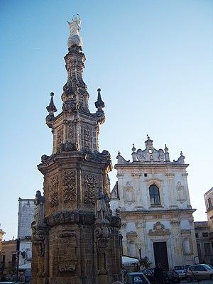 Nardò - 18th century column in Piazza Salandra