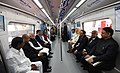 Narendra Modi taking a ride in Hyderabad Metro along with the Governor of Andhra Pradesh and Telangana, Shri E.S.L. Narasimhan, the Chief Minister of Telangana, Shri Chandrashekar Rao.jpg