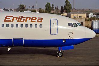 Transport in Eritrea - A Nasair Eritrea Boeing 737-200 aircraft at the Asmara International Airport.
