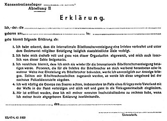 Persecution of Jehovah's Witnesses in Nazi Germany - Nazi renunciation document