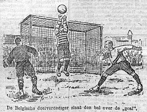 Low Countries derby - Left: The Coupe Vanden Abeele / Right: Illustration of the first Rotterdamsch Nieuwsblad-beker duel in Rotterdam in 1905