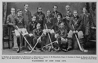 Tom Howard (ice hockey) - Howard (4) with the 1903–04 New York Wanderers.
