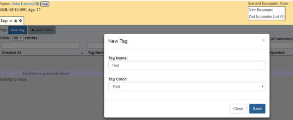 Pop up window where tag details are filled