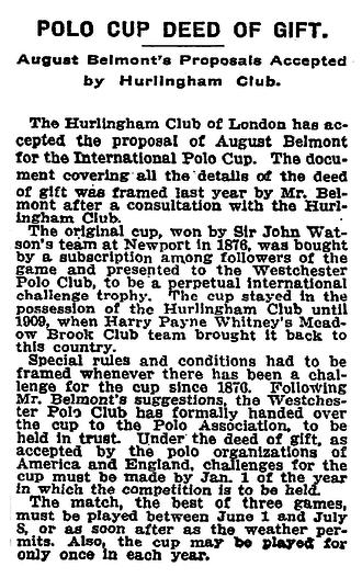 John Watson (polo) - New York Times on June 30, 1912