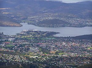 New Town, Tasmania - New Town viewed from Lost World to the west.  New Town Bay is on the left and Cornelian Bay is on the right behind the suburb.