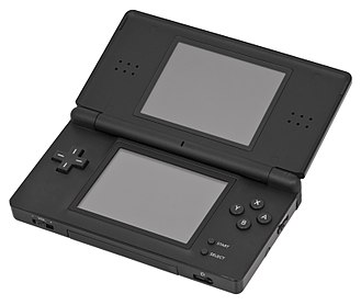 Nintendo DS family - A black Nintendo DS Lite in its opened position.