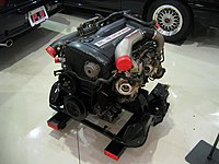 Nissan RB26DETT engine on display at Prince and Skyline Museum in Nagano Japan.jpg