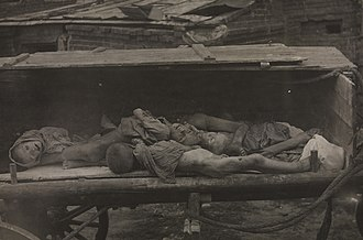 Russian famine of 1921–22 - Children's corpses collected on a wagon in Samara, 1921