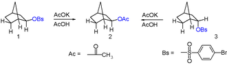 2-Norbornyl cation - Figure 6: Acetolysis of 2-endo- and 2-exo- substituted norbornanes affords only 2-exo-norbornyl acetate.