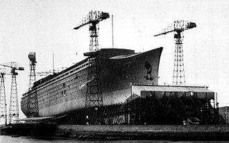 SS Normandie - Normandie under construction, 1932
