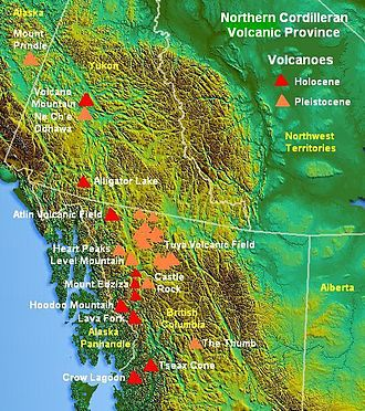 Tseax Cone - Map of Northern Cordilleran Volcanic Province showing location of Tseax Cone