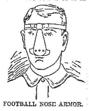 "1890 College Football All-America Team - Football's first protective face gear, ""nose armor,"" was developed to protect Harvard's John Cranston."