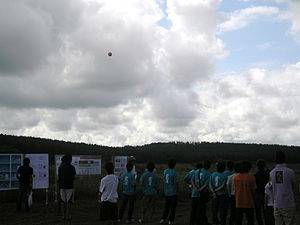 CanSat - Launch using a ballon in the Japanese Competition at the Noshiro Space Event '07 held in Noshiro, Akita