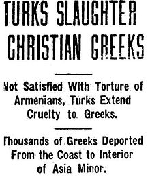 Article stating Turks Slaughter Christian Greeks, on October 19th, 1917 published by the Lincoln Daily star