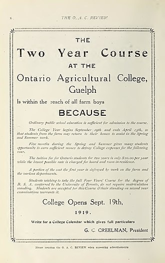 "University of Guelph - This is ad for ""farm boys"" from the Ontario Agricultural College in 1919 recruiting them by talking about the low cost tuition"