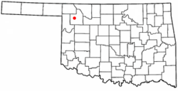 Location of Woodward, Oklahoma