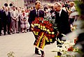 Officials lay wreaths to mark the 25th Anniversary of the Berlin Wall in August, 1986.jpg
