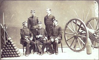 Imperial Brazilian Army - Officers of the Imperial Army next to a cannon, 1886.
