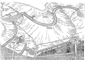 Upper Harz Water Regale - Schematic representation of the Upper Harz Water Regale showing the ponds, ditches and tunnels as well as the use of water power in the mines