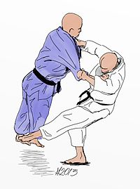 Illustration of the Judo throw okuri-ashi-barai.