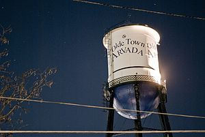 Arvada, Colorado - The water tower situated in Olde Town Arvada