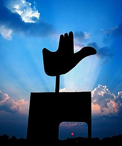 The Open Hand Monument in Chandigarh