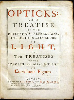 Optics - Cover of the first edition of Newton's Opticks