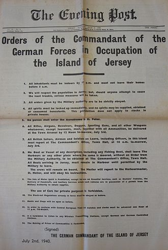 German occupation of the Channel Islands - Orders of the Commandant of the German Forces in Occupation of the Island of Jersey, 2 July 1940