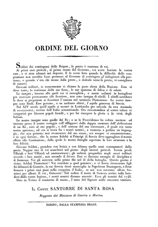 Pagina ordine del giorno torino 27 marzo 1821 santarosa for Rosa dei mobili torino