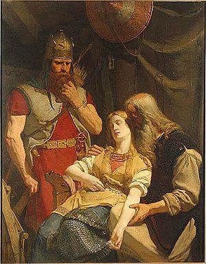 Hervarar saga ok Heiðreks - Örvar-Oddr informs Ingeborg about Hjalmar's death  August Malmström (1859)
