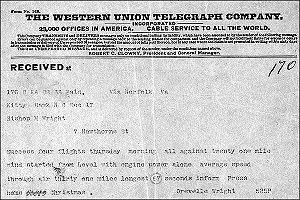 This telegram was sent by Orville Wright in December 1903 from Kitty Hawk, North Carolina, following the first successful aeroplane flight.