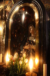 Our Lady of Sorrows statue in Golgotha, Holy Sepulchre 2.jpg