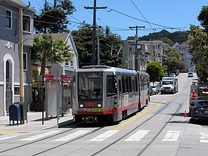 Carl and Cole station - Outbound N Judah train at Carl and Cole in 2017