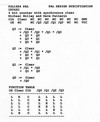 Programmable Array Logic - PALASM design of a 4-bit counter