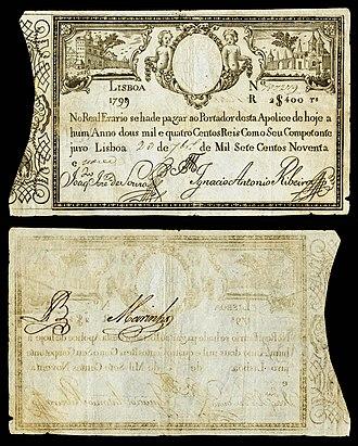 Portuguese real - Image: POR 4 Imperial Treasury 2400 Reis (1798 99)