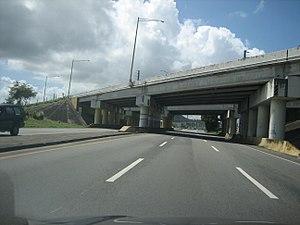 Puerto Rico Highway 53 - PR-53 freeway overpass over PR-3 in Humacao at Exit 31.