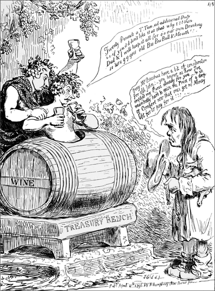PSM V51 D397 John bull petitioning pitt and dundas to lighten the liquor tax.png