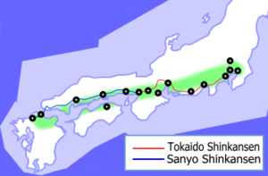 Taiheiyō Belt - A map of the Taiheiyō Belt showing the Tōkaidō and Sanyō shinkansen routes.