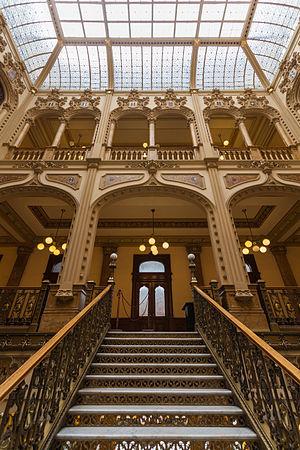 Palacio de Correos de Mexico - Frontal view of the central stairs.
