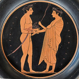 Epiktetos - Palaistra scene on a plate, about 520/10 BC. Louvre.