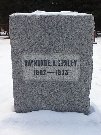 Raymond Paley - Photograph of Paley's grave in The Old Banff Cemetery. The main gate is visible on the left.