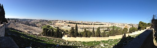 Panorama of Jerusalem from Mount of Olives (15813493453)