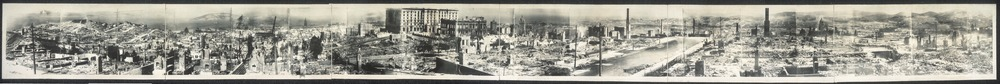 A 360 degree panoramic view of damage across the city after the disaster in 1906. In the distance large buildings remain but local structures are reduced to piles of rubble, with some chimney stacks remaining.