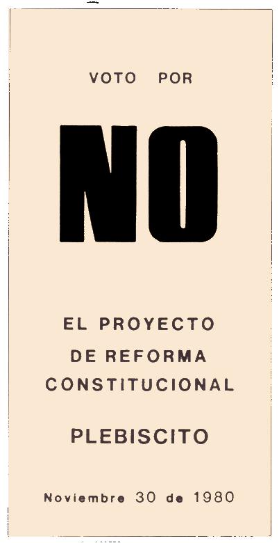 Papeleta por el No plebiscito Uruguay 1980